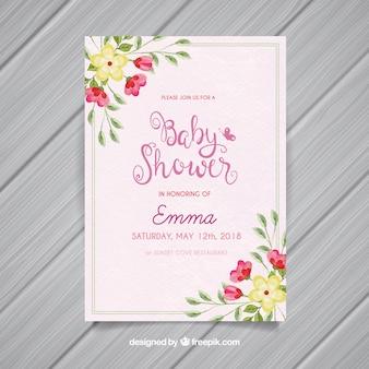 Convite do chuveiro do bebê com flores no estilo da aguarela