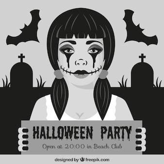 Convite do dia das bruxas com uma mulher goth