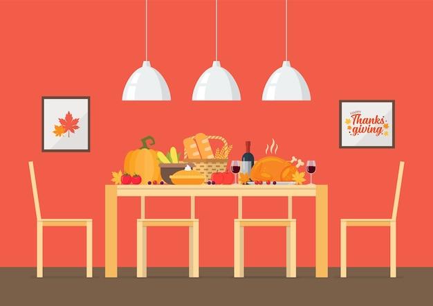 Convite do dia de ação de graças com sala de jantar interior.