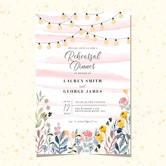 Convite do jantar de ensaio com luz da corda e aquarela floral do jardim