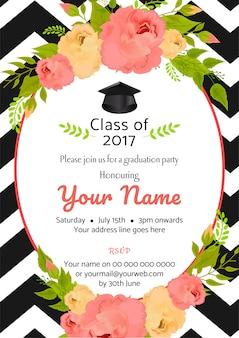 Convite do modelo do partido de graduação