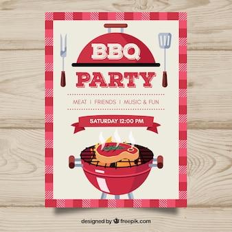 Convite do partido bbq em design plano