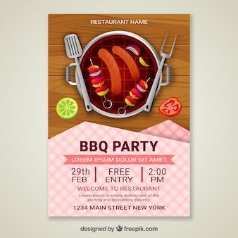 Convite do partido bbq em design realista