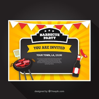 Convite do partido de churrasco em estilo desenhado à mão