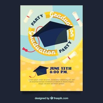 Convite do partido de graduação com mortarboard
