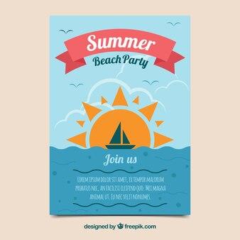Convite do partido do verão no projeto liso