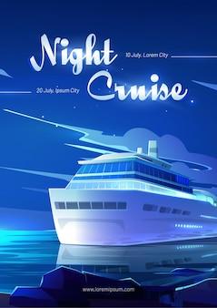 Convite do passageiro do cruzeiro noturno para reservar a passagem