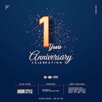 Convite do primeiro aniversário com edição de números 3d em relevo