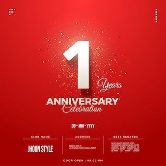 Convite do primeiro aniversário com números brancos em vermelho
