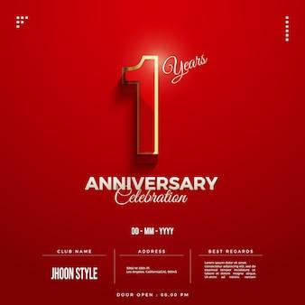 Convite do primeiro aniversário com números vermelhos delimitados por ouro