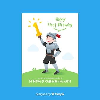 Convite do primeiro cavaleiro do aniversário