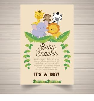 Convite do safari da festa do bebé