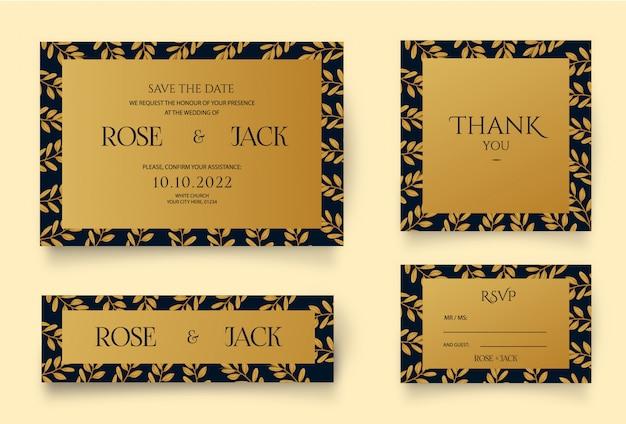 Convite dourado com elementos florais
