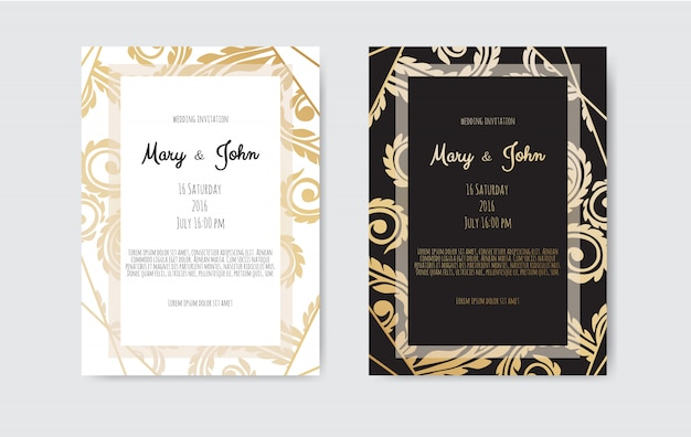 Convite dourado com elementos florais.