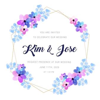Convite dourado do casamento do quadro da aguarela