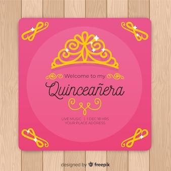 Convite dourado do partido do quinceañera da tiara