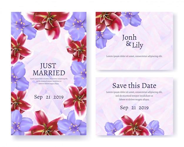 Convite e saudação conjunto de cartão de texto para casamento