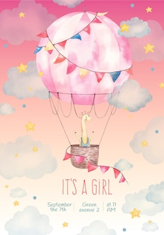 Convite é uma menina, ilustração em aquarela, fofa, girafa em um balão nas estrelas e nuvens