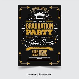 Convite elegante da festa de formatura com design plano