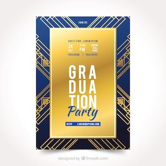 Convite elegante da festa de formatura com estilo dourado