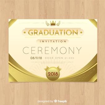 Convite elegante da graduação com estilo dourado
