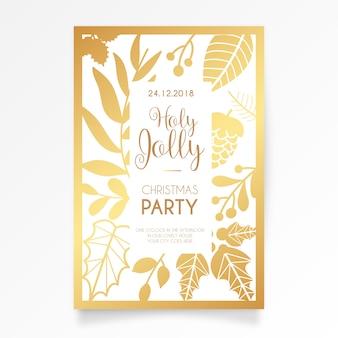 Convite elegante do cartão da festa de natal