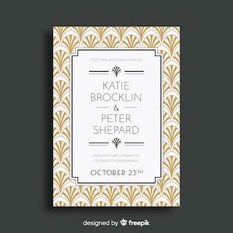 Convite elegante do casamento do art deco