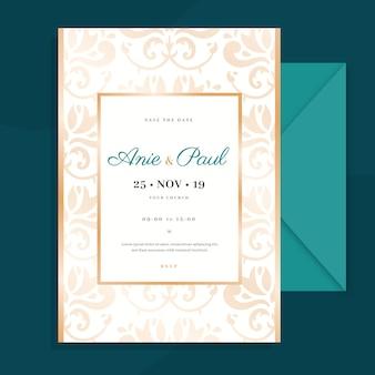 Convite elegante do casamento do damasco do modelo