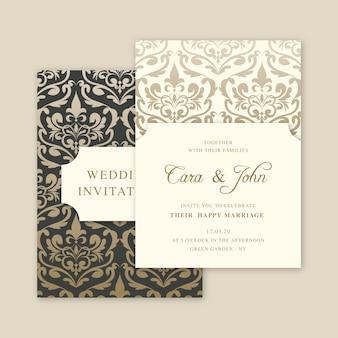 Convite elegante do casamento do damasco