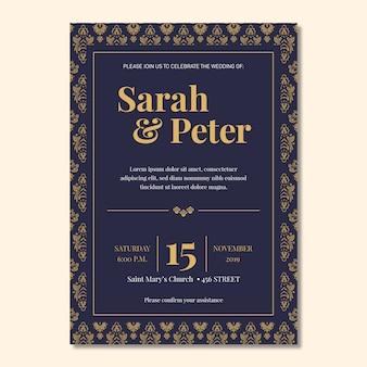 Convite elegante do casamento do modelo do damasco