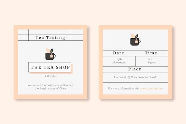 Convite elegante e minimalista para degustação de chá para café