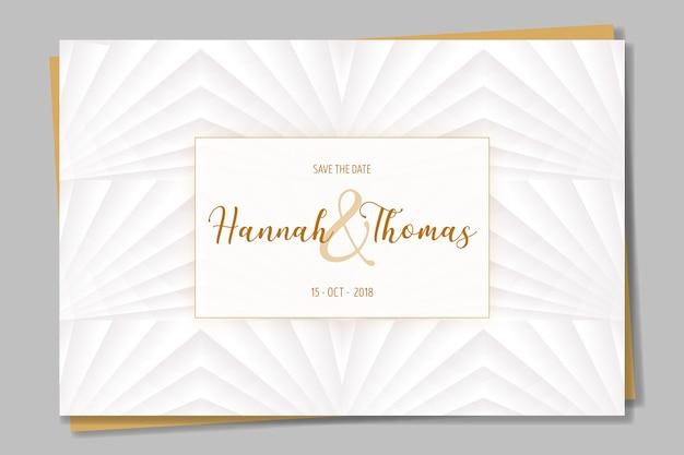 Convite elegante em branco e dourado