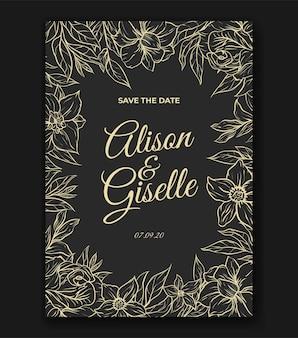 Convite elegante para cartão de casamento com lindo contorno de flores