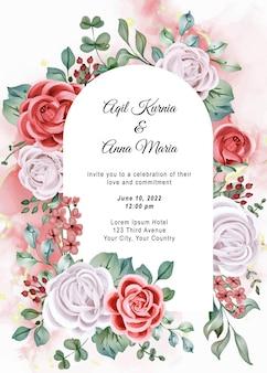 Convite elegante para casamento em aquarela de noivado rosa