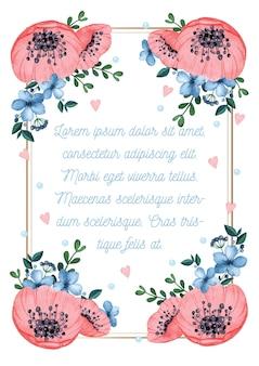 Convite em aquarela com moldura de flores dia dos namorados