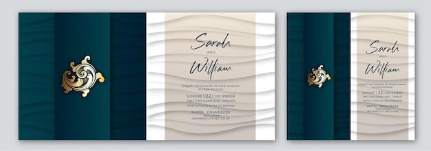Convite esverdeado de luxo gráfico de onda com dois estilos