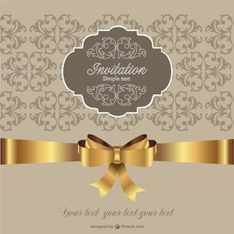 Convite fita dourada estilo retro