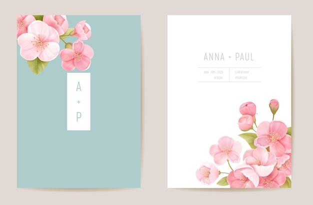 Convite floral cereja casamento realista. flores exóticas de sakura, folhas de cartão. vetor de modelo botânico save the date, capa de folhagem, pôster moderno, design moderno, plano de fundo luxuoso