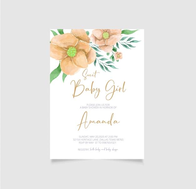 Convite floral da festa do bebé