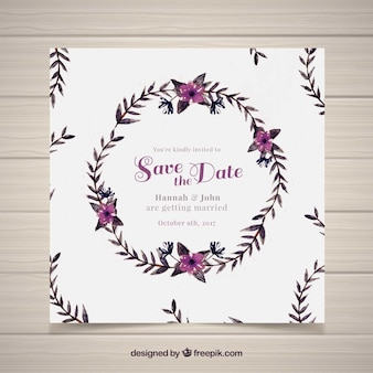 Convite floral de casamento de aquarela