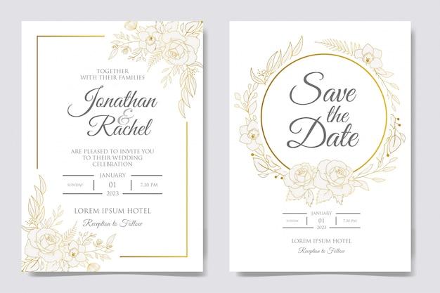 Convite floral desenhado mão elegante do casamento