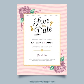 Convite floral do casamento com elementos dourados