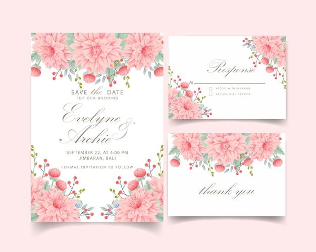 Convite floral do casamento com flor da dália