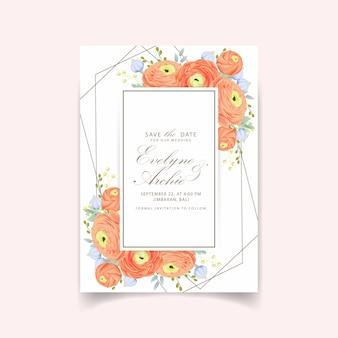 Convite floral do casamento com flor do ranúnculo