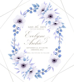 Convite floral do casamento com flores da anêmona