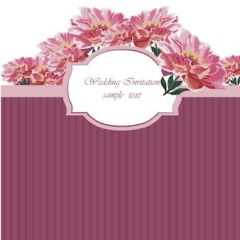 Convite floral do casamento com listras cor-de-rosa escuras