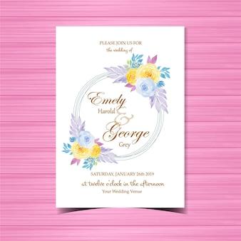 Convite floral do casamento da aguarela