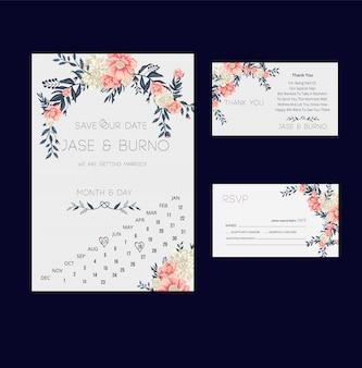 Convite floral do casamento e coleção do cartão de rsvp