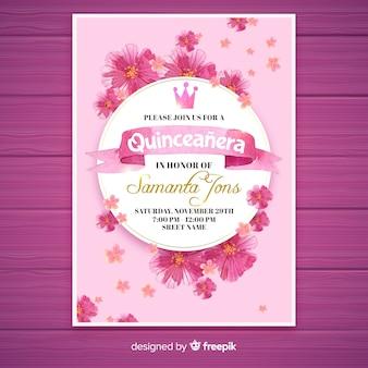 Convite floral do partido do quinceañera