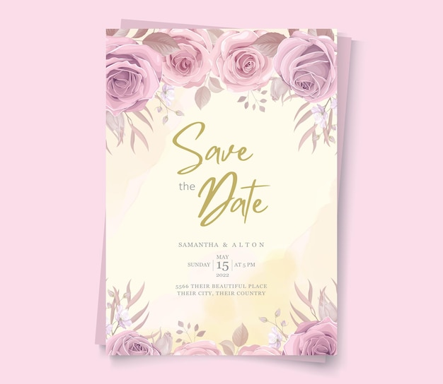Convite floral elegante para salvar a data